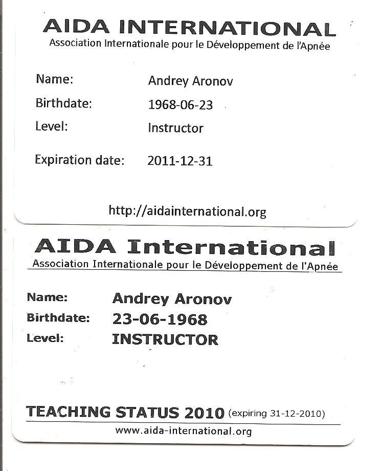 תעודת מדריך צלילה חופשית - AIDA